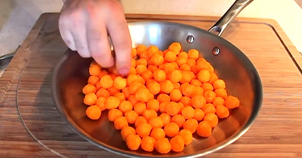 He Puts Cheese Balls Into The Frying Pan