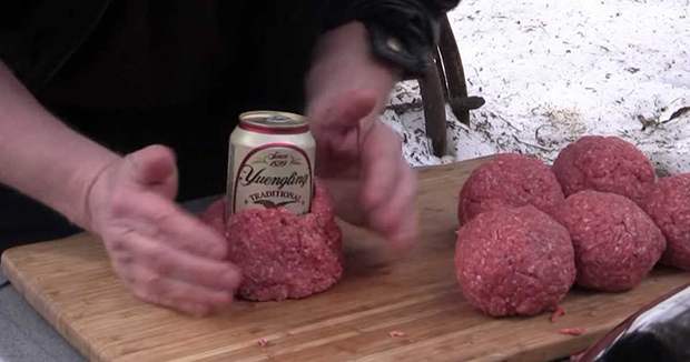 Beef Is wrapped Around A Beer Can